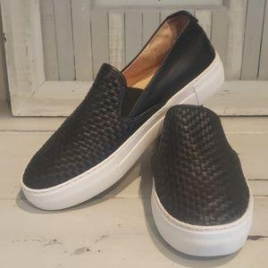 J/Slides black leather platform slip on